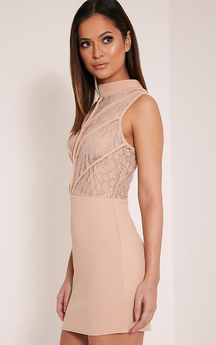 Vivian Taupe High Neck Lace Detail Bodycon Dress 5