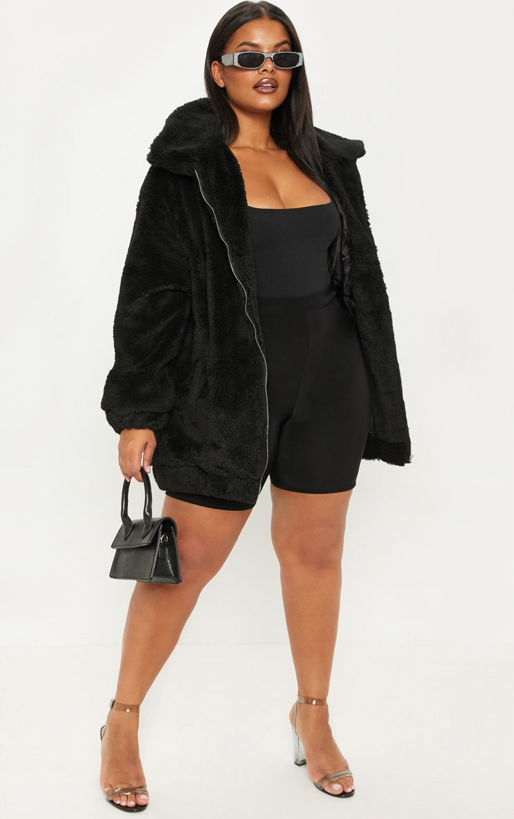 Plus Black Teddy Bomber Coat 1