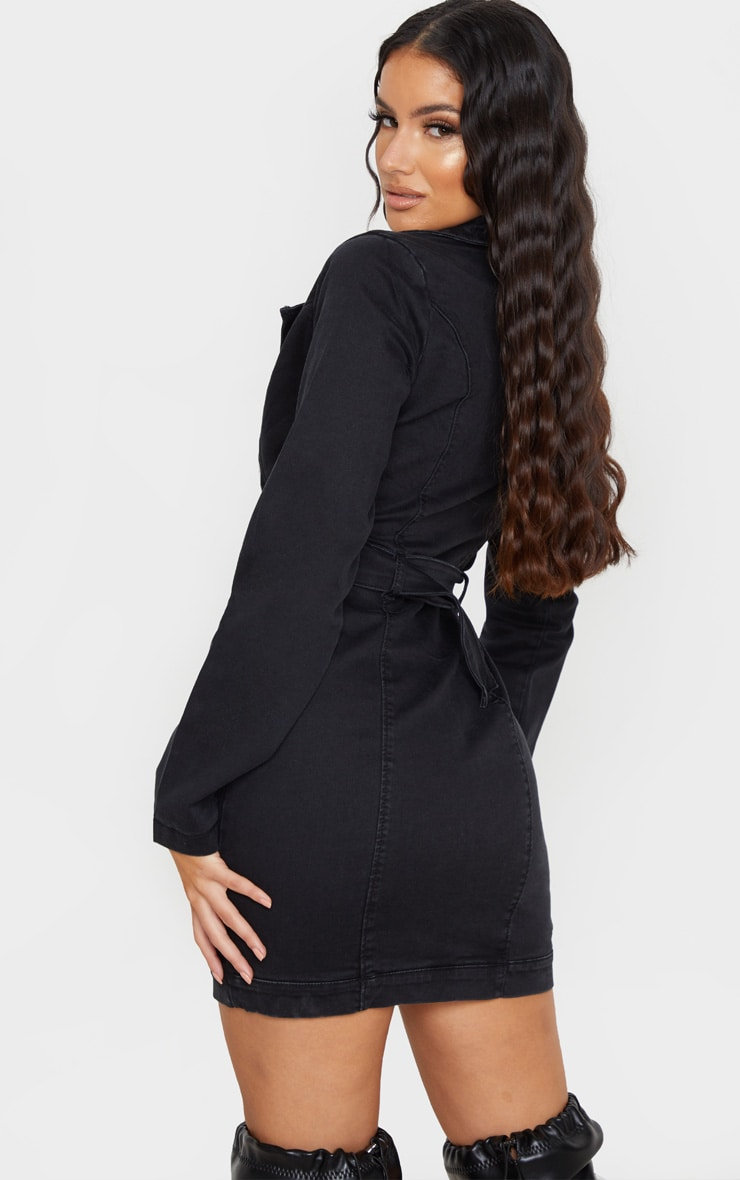 Black Belted Zip Detail Denim Dress 2