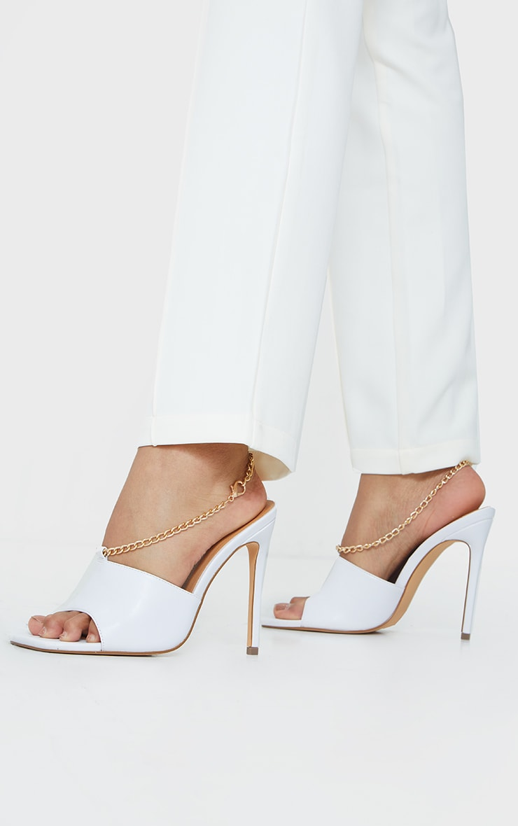 White Chain Sling Back Square Toe Mule Heels 1