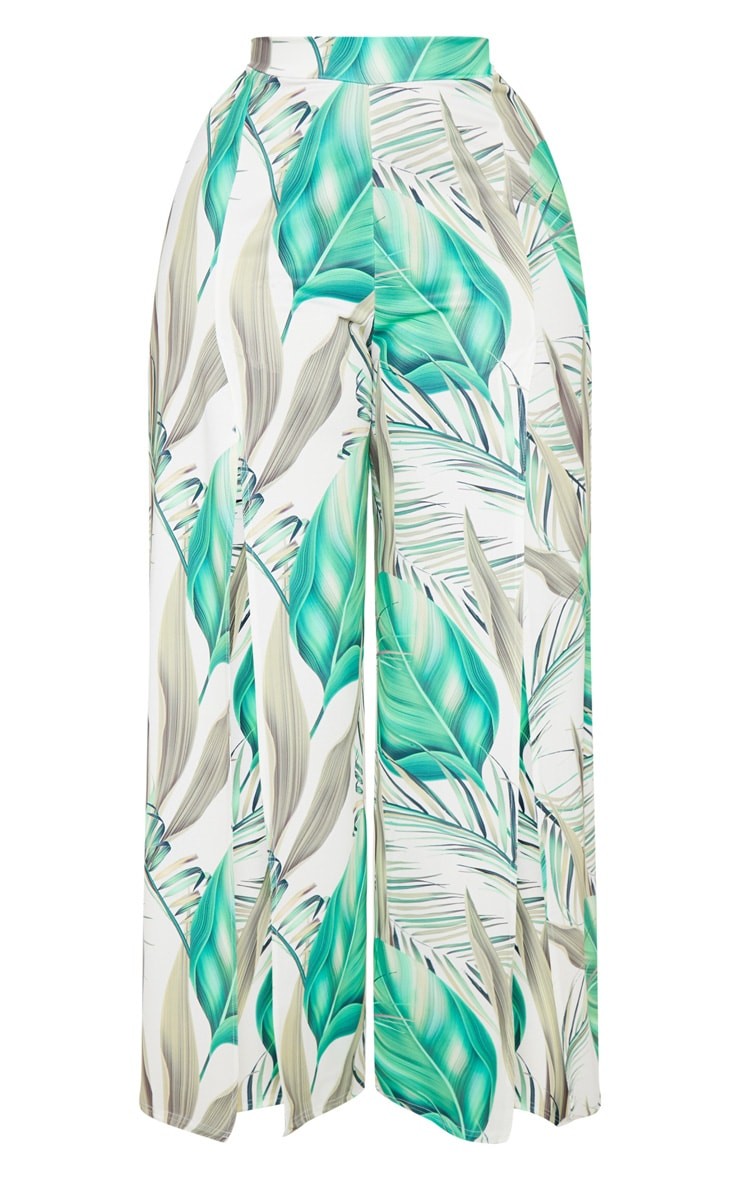 Plus White Tropical Print Wide Leg Trousers 3