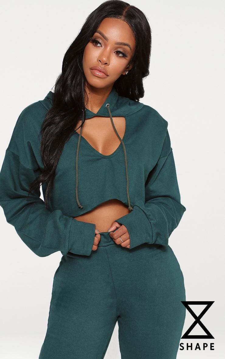 Shape Emerald Green Crop Open Neck Hoodie 1