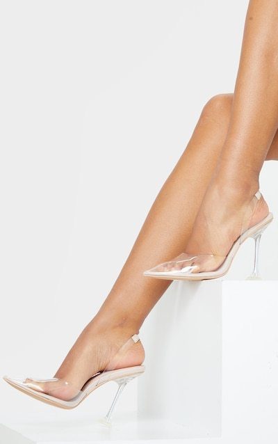 Clear Cake Stand Sling Back Point Toe Court Shoe