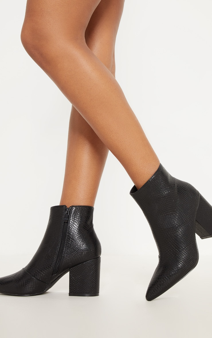 Black Low Block Heel Point Ankle Boot 2