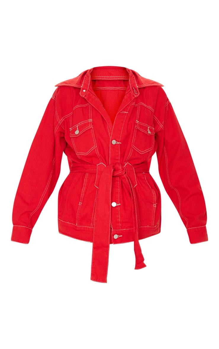 Red Tie Waist Oversized Denim Jacket 3