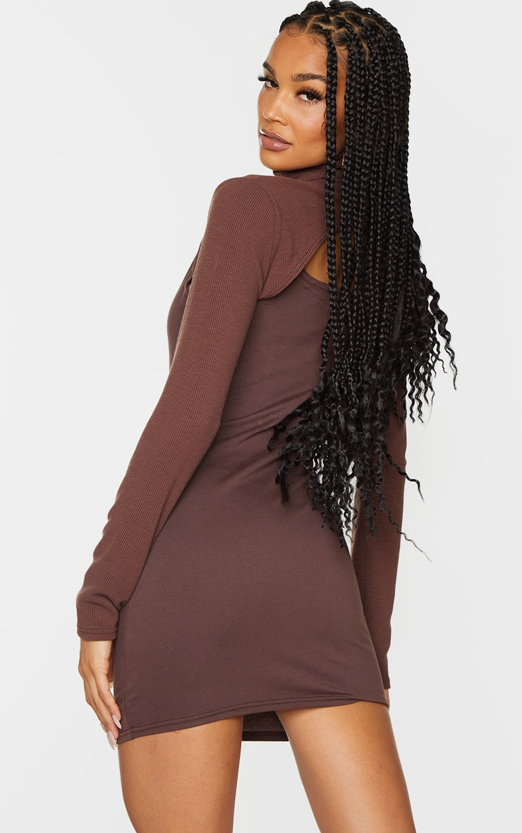 Chocolate High Neck Layered Detail Long Sleeve Bodycon Dress 2