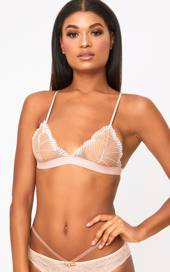 Rose Triangle Lace Detail Bra 1