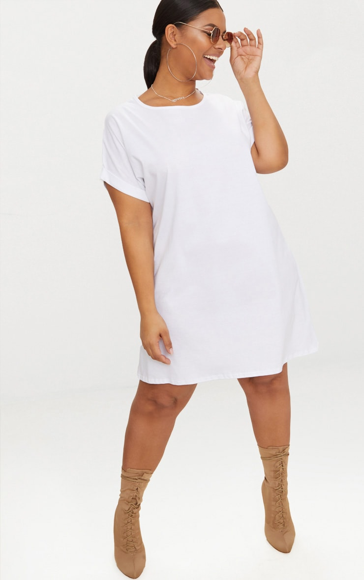 Plus White Oversized Roll Sleeve T-Shirt Dress 1