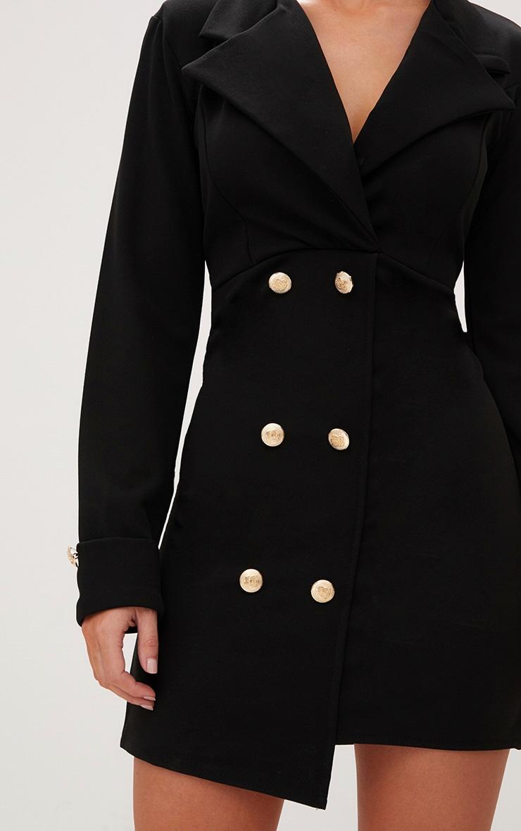 Robe blazer à détail boutonné doré noire 5