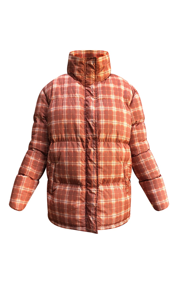 Rust Nylon Checked Oversized Puffer Jacket 5