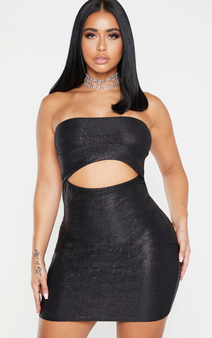 Shape Black Glitter Cut Out Bandeau Bodycon Dress 1
