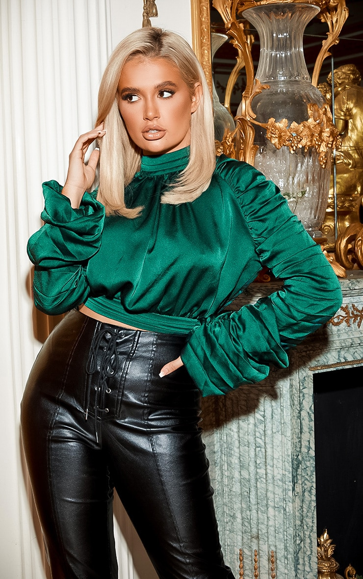 Green Satin Ruched Sleeve Crop Top 1