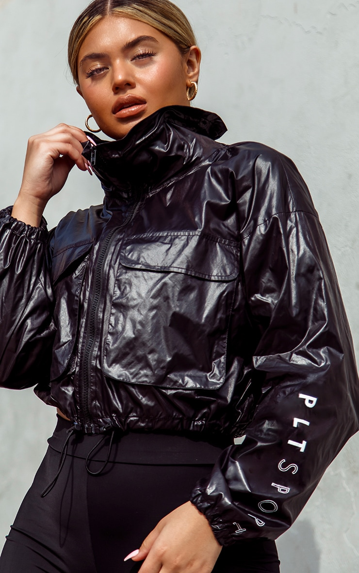 PRETTYLITTLETHING Black Sport High Shine Windbreaker