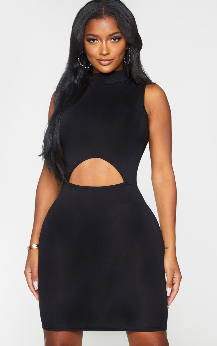 Shape Black Jersey Cut Out Detail High Neck Bodycon Dress 3