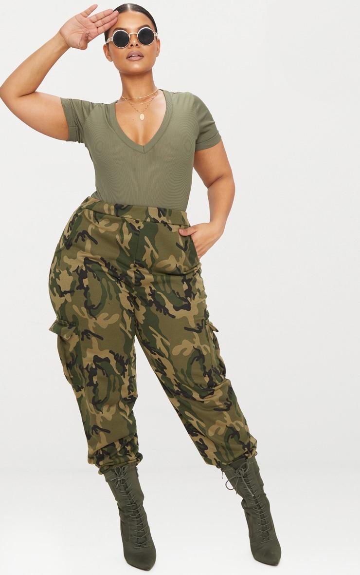 PLT Plus Pantalon de jogging imprimé camouflage kaki à grosses poches