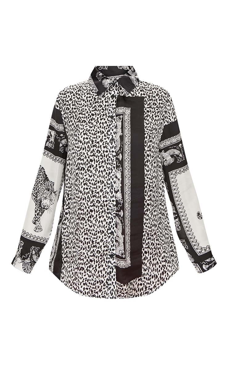 Monochrome Leopard Print Satin Button Front Shirt 3