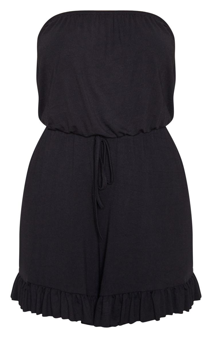 Black Jersey Tie Waist Bandeau Romper 3