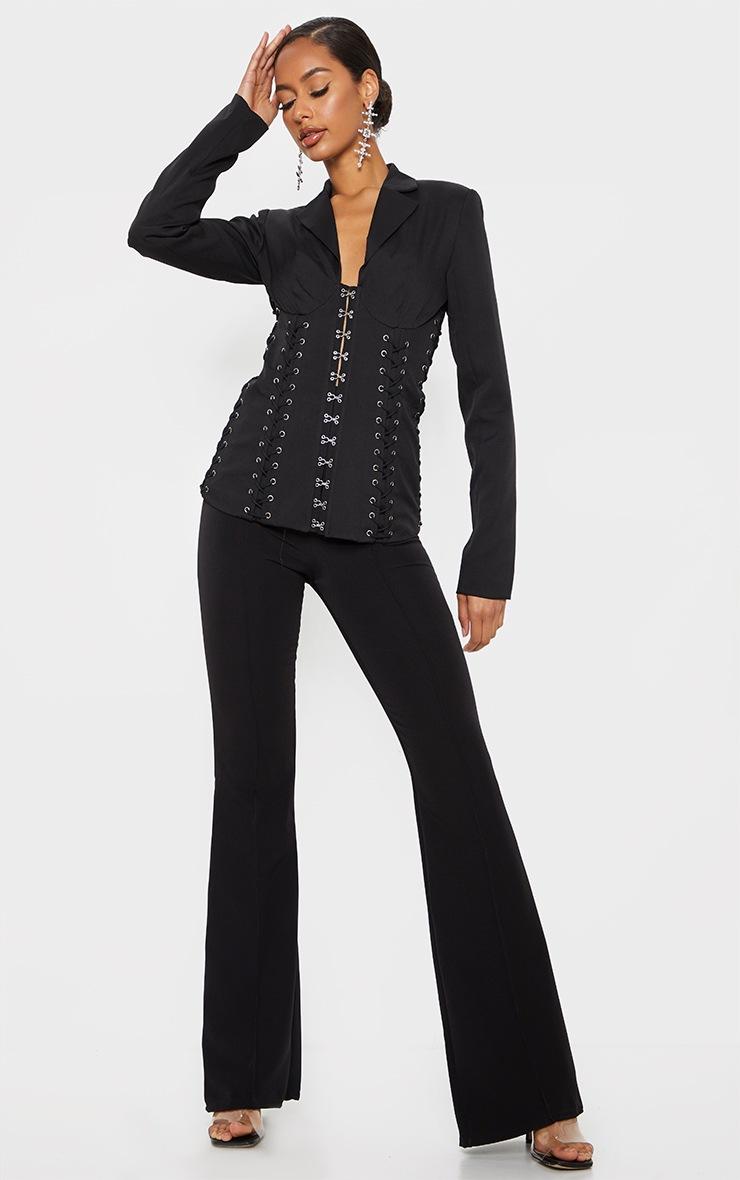 Black Boned Lace Up Corset Blazer 3