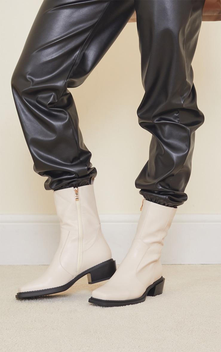Cream Matte Pu Croc Square Toe Heeled Western Boots 2