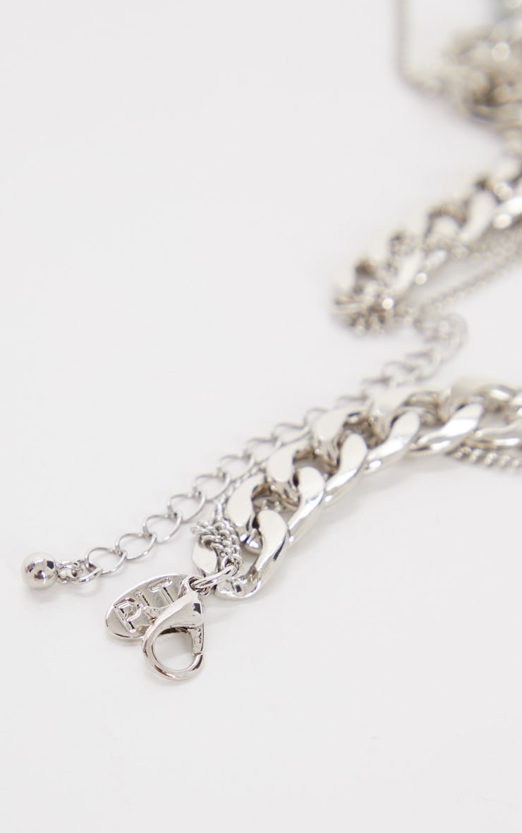Silver Chunky Flat Chain And Pedant Layering Necklace 4