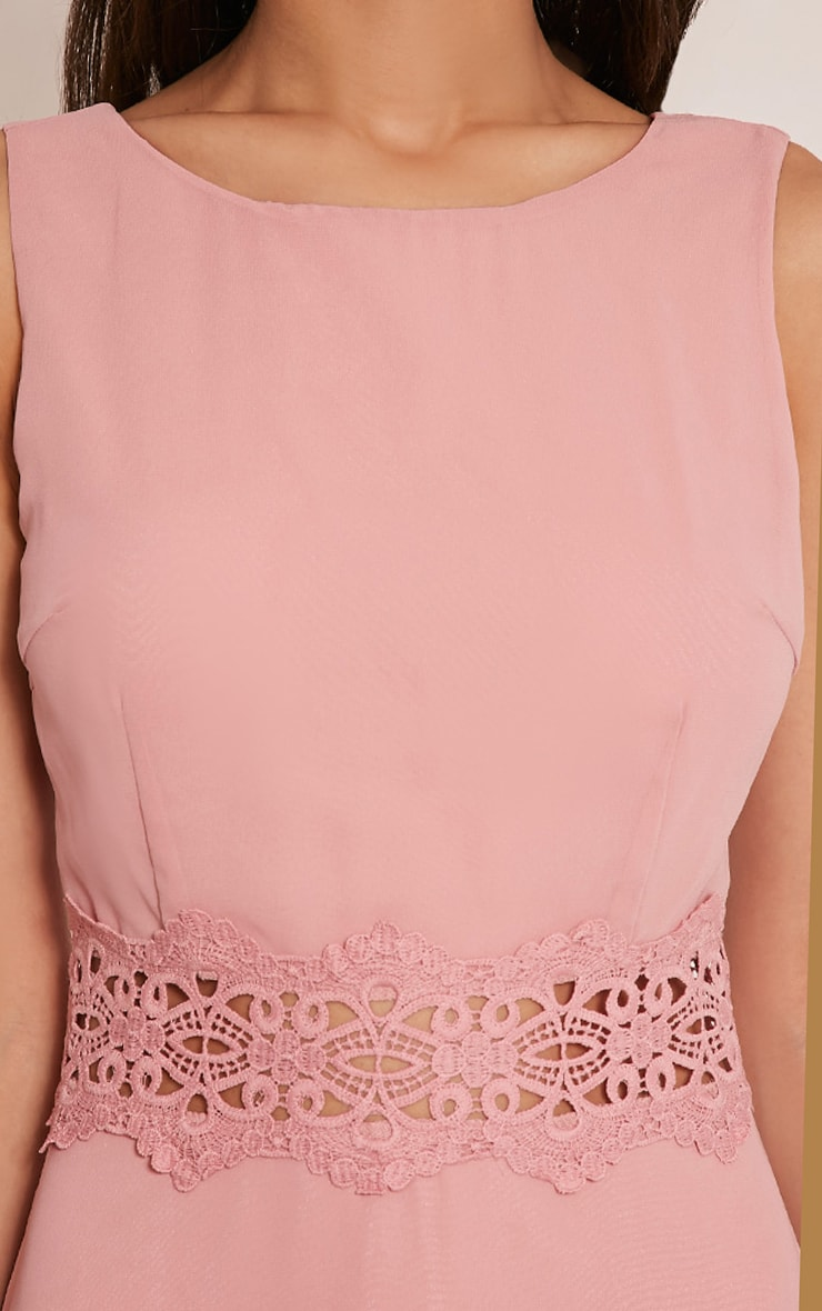 Caitlan Dusty Pink Lace Insert Maxi Dress 6