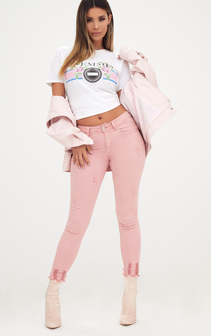 Pink Distressed Skinny Jean 1