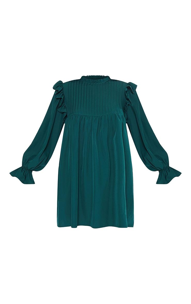 Emerald Green Ruffle Binding Detail Shirt Dress 5