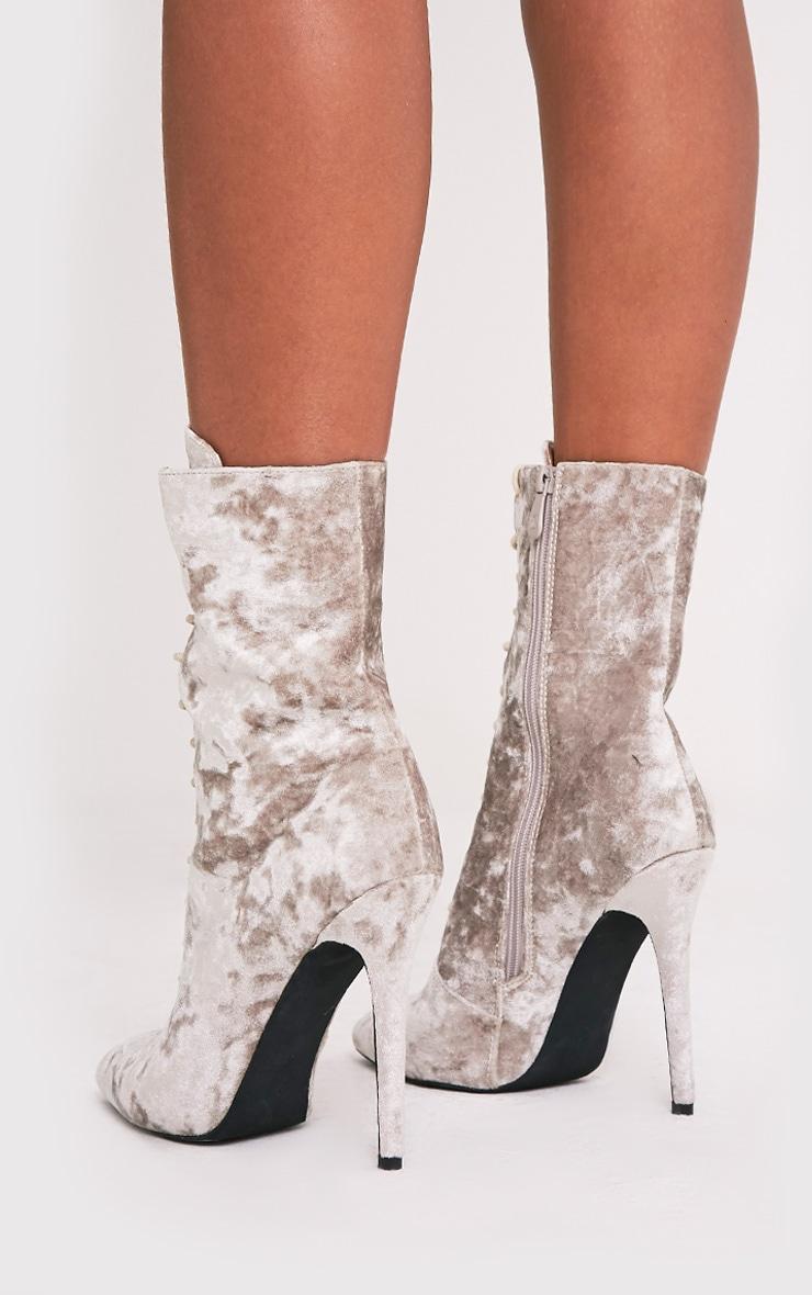 Savia bottes à talons à lacets en velours écrasé champagne 5