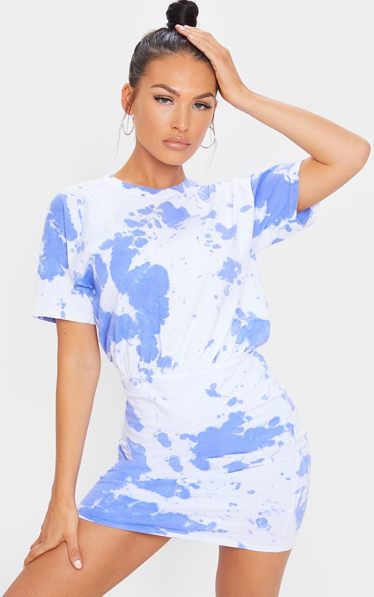 Blue Tie Dye Elastic Waist T Shirt Dress 1
