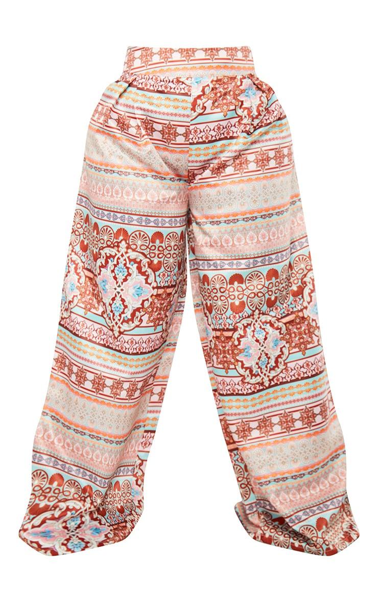 Plus Multi Paisley Print Pleat Detail Wide Leg Trousers 5