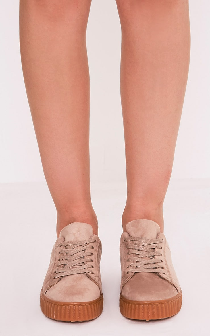 Kailey Nude Faux Suede Creepers 3