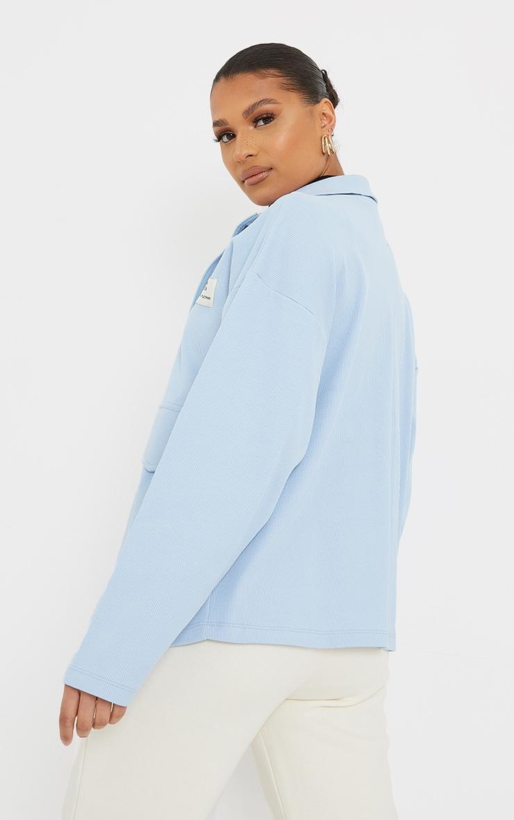 PRETTYLITTLETHING Baby Blue Pocket Front Ribbed New Season Jacket 2