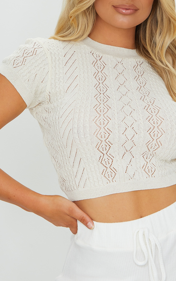 Stone Crochet Pointelle Knitted Top 4