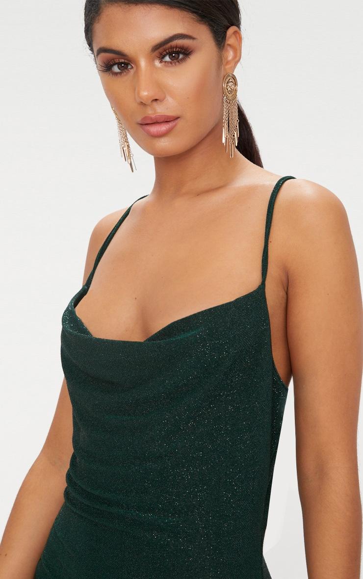 Green Glitter Cowl Neck Bodycon Dress 5