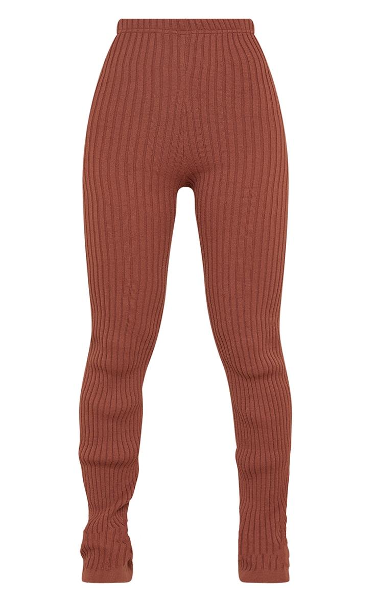 Rust Ribbed Flare Hem Knitted Trouser 5