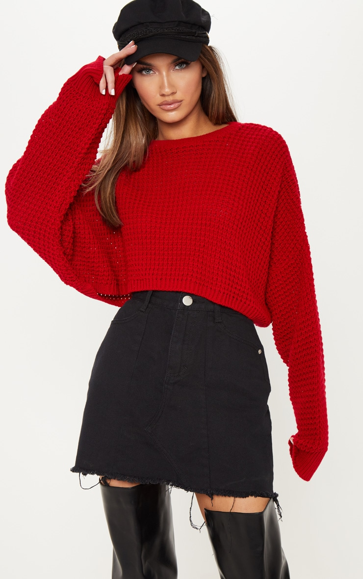 Red Fisherman Knitted Super Cropped Sweater 1