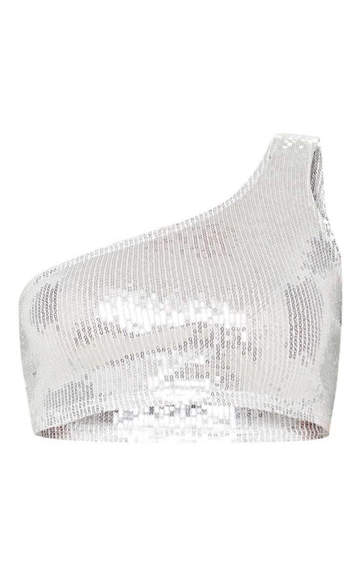 Silver One Shoulder Sequin Crop Top 3