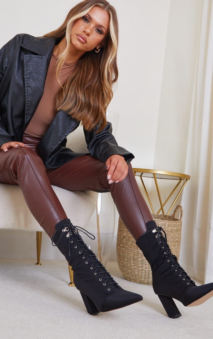 Black Lycra Lace Up Pointed Toe Block Heel Sock Boots 1