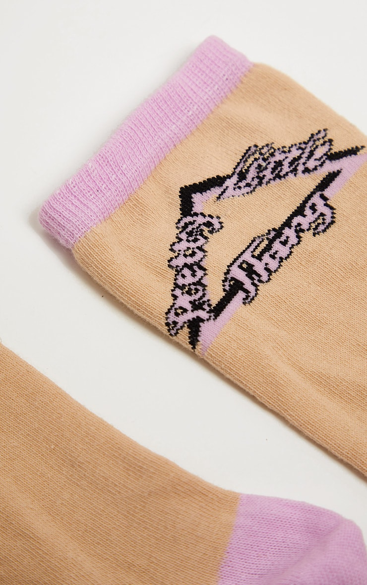 PRETTYLITTLETHING Nude Triangle Logo Retro Socks 4