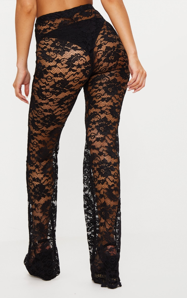 Black Lace Scalloped Hem Beach Trousers 4