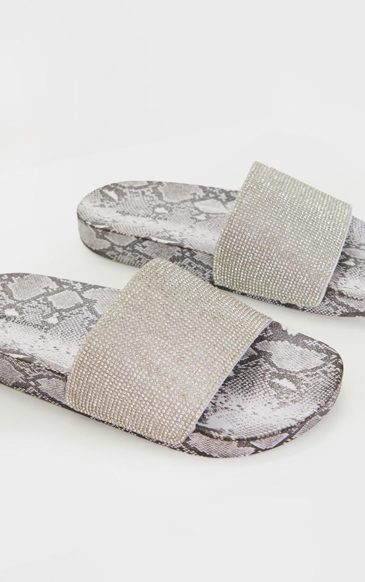 Grey Snake Diamante Slides 4
