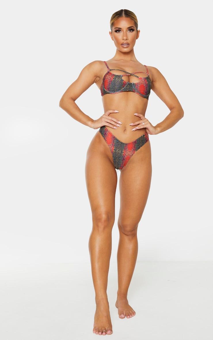Orange Snake Underwired Multi Strap Bikini Top 4