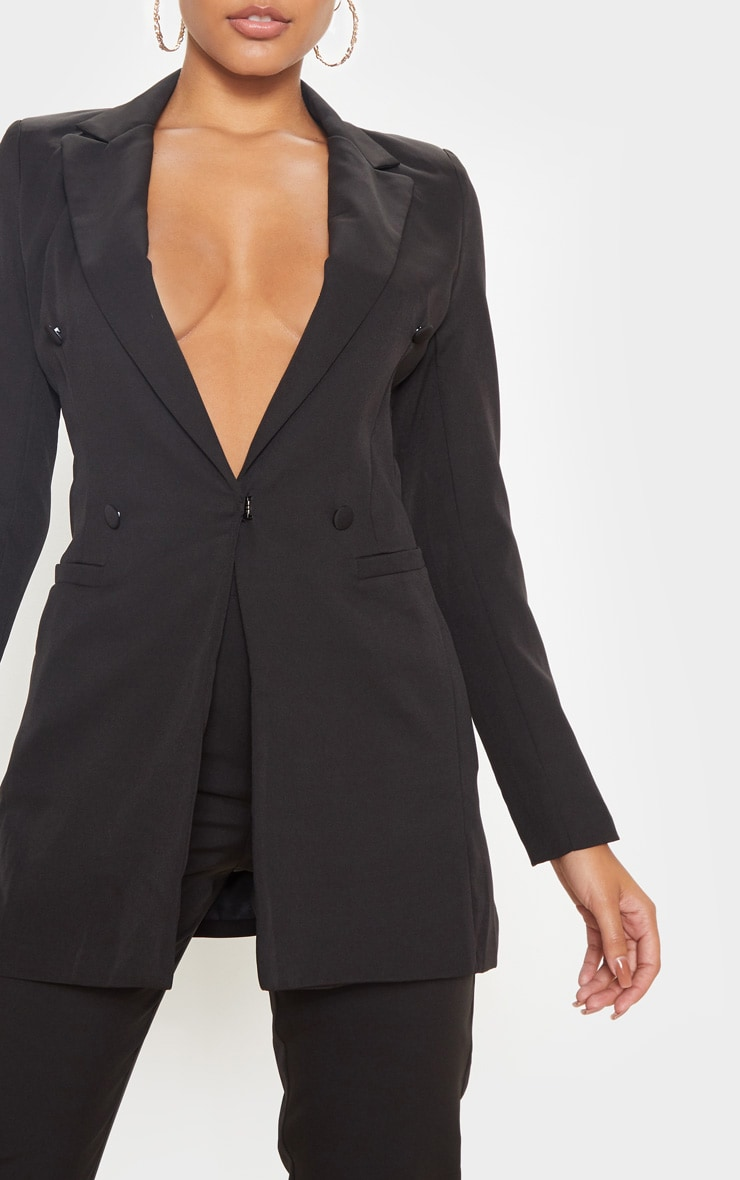 Black Double Breasted Woven Blazer 5