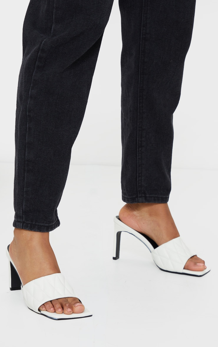White Extreme Square Toe Quilted Strap Mule Heel 2