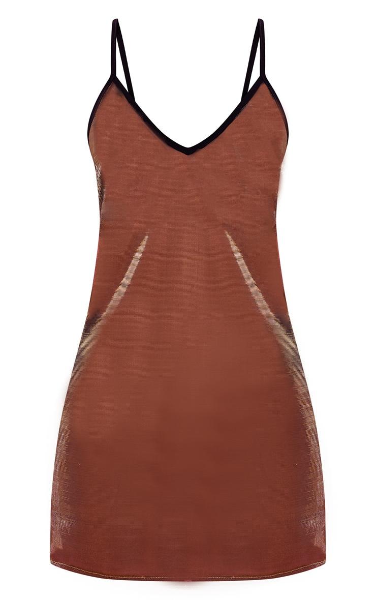 Gold Sheer Metallic Plunge Front Bodycon Dress 4