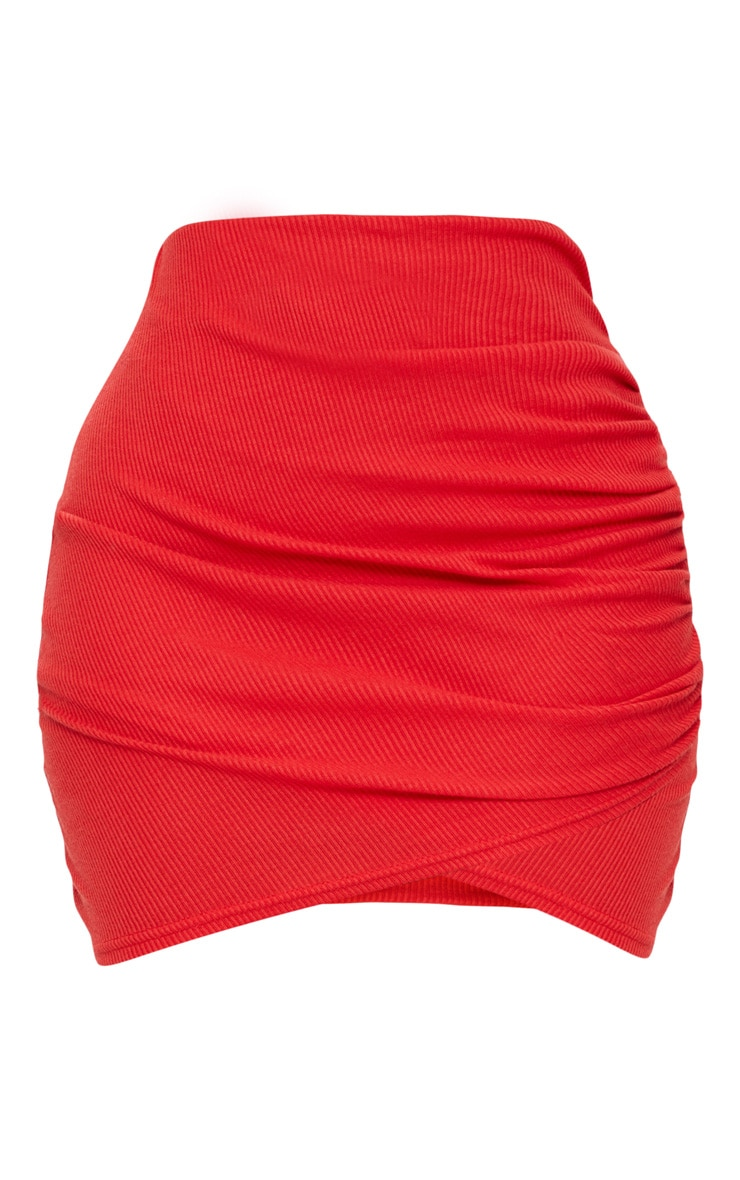Shape Red Ribbed Bodycon Skirt 3