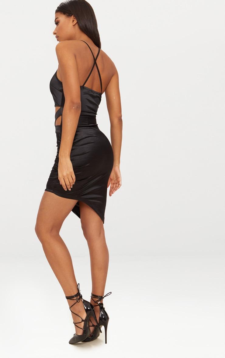 Black Satin Ruched Cut Out Detail Asymmetric Bodycon Dress 2