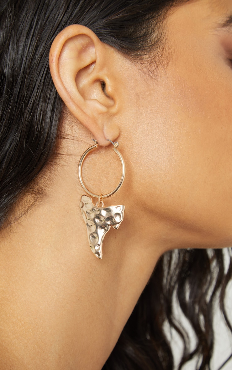 Gold Hammered Irregular Shape Mini Charm Earrings 1