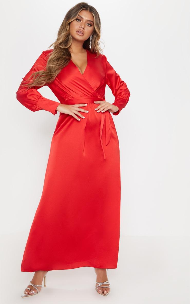 d2a375834a55e Red Satin Maxi Dress – Fashion dresses