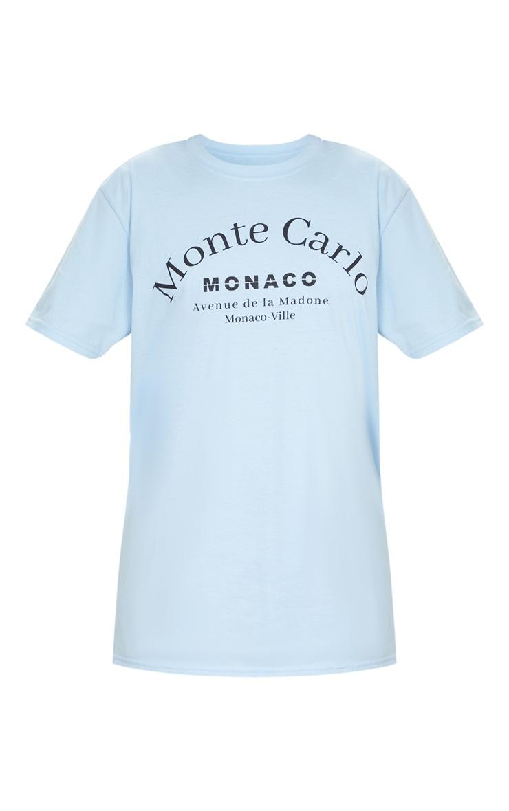 Baby Blue Monte Carlo Slogan T Shirt 5